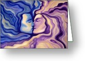 Purple Painting Greeting Cards - Lovers in Eternal Kiss Greeting Card by Jindra Noewi
