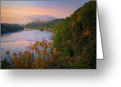 Scenic New England Greeting Cards - Lovers Leap Sunrise Greeting Card by Bill  Wakeley