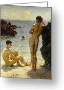Golden Sand Greeting Cards - Lovers of the Sun Greeting Card by Henry Scott Tuke