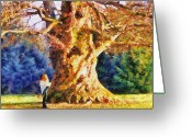 Man And Woman Greeting Cards - Lovers Tree Greeting Card by Jai Johnson