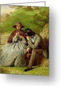 1855 Greeting Cards - Lovers Greeting Card by William Powell Frith