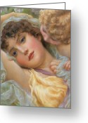 Drapery Greeting Cards - Loves Whispers Greeting Card by NP Davies