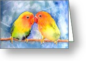 Lovebird Painting Greeting Cards - Lovey Dovey Lovebirds Greeting Card by Arline Wagner