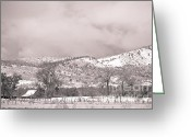 Rocky Mountain Prints Greeting Cards - Low Clouds on The Colorado Rocky Mountain Foothills 3 BW Greeting Card by James Bo Insogna
