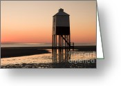 Silhouettes Greeting Cards - Low Lighthouse Sunset Greeting Card by Anne Gilbert