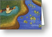 Row Boat Mixed Media Greeting Cards - Low Tide Greeting Card by Anne Klar
