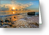 Reefs Greeting Cards - Low Tide Greeting Card by Debra and Dave Vanderlaan