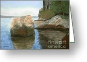 Bay Islands Pastels Greeting Cards - Low Tide Lopez Greeting Card by Ginny Neece