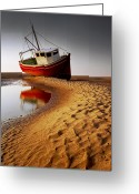 Fishing Boat Greeting Cards - Low Tide Greeting Card by Peter OReilly