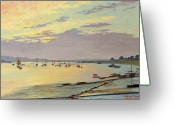 Sunset Scenes. Painting Greeting Cards - Low Tide Greeting Card by W Savage Cooper