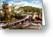 Country Lane Greeting Cards - Low Water Bridge II Greeting Card by Kip DeVore