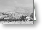 Rocky Mountain Prints Greeting Cards - Low Winter Storm Clouds Colorado Rocky Mountain Foothills 7 BW Greeting Card by James Bo Insogna