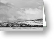 Rocky Mountain Prints Greeting Cards - Low Winter Storm Clouds Colorado Rocky Mountain Foothills BW Greeting Card by James Bo Insogna