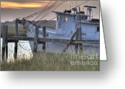 Folly Beach Lighthouse Greeting Cards - Lowcountry Shrimp Boat Sunset Greeting Card by Dustin K Ryan