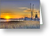 Carolina Greeting Cards - Lowcountry Sunset Greeting Card by Drew Castelhano