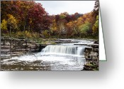 Indiana Autumn Greeting Cards - Lower Cataract Falls Greeting Card by Sophie Doell