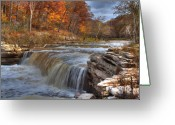 Indiana Autumn Greeting Cards - Lower Falls Greeting Card by Jeff VanDyke