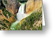 Yellowstone Landscape Art Greeting Cards - Lower Falls Rainbow Greeting Card by Greg Norrell