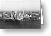 Harborfront Greeting Cards - Lower Manhattan, 1968 Greeting Card by Bernard Wolff