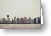 Nyc Cityscape Greeting Cards - Lower Manhattan Greeting Card by Benjamin Matthijs