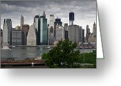 Travel Agent Greeting Cards - Lower Manhattan from Brooklyn panorama 1 Greeting Card by Gary Eason