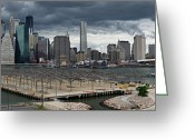 Travel Agent Greeting Cards - Lower Manhattan from Brooklyn panorama 2 Greeting Card by Gary Eason