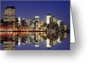 Symmetry Greeting Cards - Lower Manhattan Skyline Greeting Card by Sean Pavone