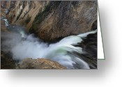 Lower Yellowstone Falls Greeting Cards - Lower Yellowstone Fall And River Greeting Card by Don Smith