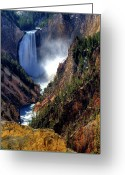 Lower Yellowstone Falls Greeting Cards - Lower Yellowstone Falls Greeting Card by Alan W Cole