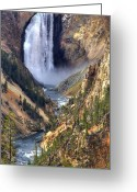 Lower Yellowstone Falls Greeting Cards - Lower Yellowstone Falls Greeting Card by Brad Scott