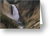 Lower Yellowstone Falls Greeting Cards - Lower Yellowstone Falls Pours Greeting Card by Gordon Wiltsie