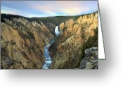 Lower Yellowstone Falls Greeting Cards - Lower Yellowstone Falls Yellowstone Greeting Card by Tim Fitzharris