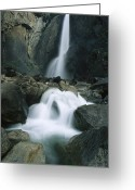 Yosemite Creek Greeting Cards - Lower Yosemite Falls Cascades Greeting Card by Phil Schermeister