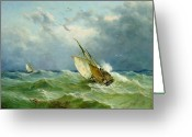 Seagulls Greeting Cards - Lowestoft Trawler in Rough Weather Greeting Card by John Moore