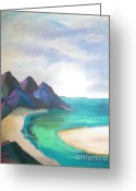 Blues Pastels Greeting Cards - Lowtide Carribean Pastel Greeting Card by Judy Via-Wolff