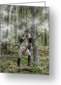 Frontier Art Greeting Cards - Loyalist Skirmisher  American Revolution Greeting Card by Randy Steele