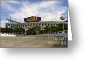 Rouge Greeting Cards - LSU Tiger Stadium Greeting Card by Scott Pellegrin