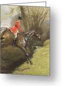 Landing Painting Greeting Cards - Lt Col Ted Lyon Jumping a Hedge Greeting Card by Cecil Charles Windsor Aldin