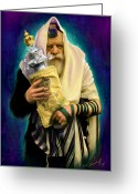 Rabbi Greeting Cards - Lubavitcher Rebbe with torah Greeting Card by Sam Shacked