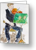 South Seas Greeting Cards - Lucas On First Violin Greeting Card by Pat Katz