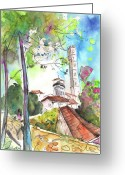 Italy Drawings Greeting Cards - Lucca in Italy 01 Greeting Card by Miki De Goodaboom
