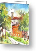 Italy Drawings Greeting Cards - Lucca in Italy 02 Greeting Card by Miki De Goodaboom