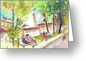 Italy Drawings Greeting Cards - Lucca in Italy 03 Greeting Card by Miki De Goodaboom