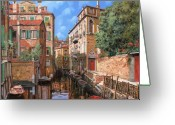 Orange Greeting Cards - Luci A Venezia Greeting Card by Guido Borelli