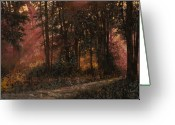 Guido Tapestries Textiles Greeting Cards - Luci Nel Bosco Greeting Card by Guido Borelli