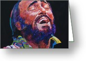 Featured Artist Painting Greeting Cards - Luciano Pavrotti Greeting Card by David Lloyd Glover