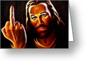 Good Friday Digital Art Greeting Cards - Lucifer This is For You Greeting Card by Pamela Johnson