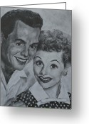 1950s Tv Greeting Cards - Lucille Ball and Desi Arnaz Greeting Card by Jessica Hallberg