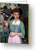 Lucille Ball Greeting Cards - Lucille Ball Cartoon Greeting Card by Sophie Vigneault