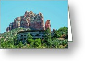 Lucille Ball Greeting Cards - Lucille Balls former home overlooking downtown Sedona Arizona Greeting Card by Frank Feliciano